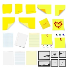 Office sticky notes and turned paper vector image