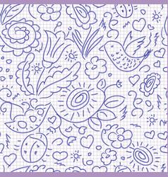 Seamless pattern sketch floral bird vector