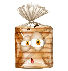 Bag of bread with sad face vector image vector image