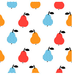 dotted pear seamless blue and red pattern on white vector image vector image