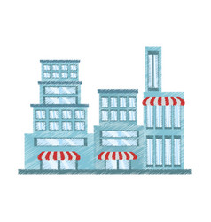 drawing building store market vector image vector image