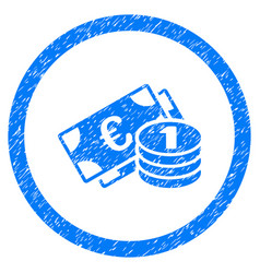 euro money rounded icon rubber stamp vector image vector image