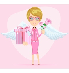 Girl in pink gives flowers and gift vector image vector image