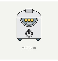 Line color kitchenware icons - double vector image vector image