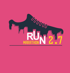 poster - running sport shoe and the city vector image