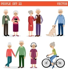 Set of the old people vector image vector image
