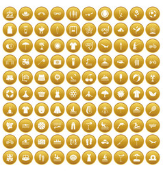 100 summer icons set gold vector