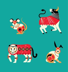 12 Chinese horoscope Zodiac part A vector