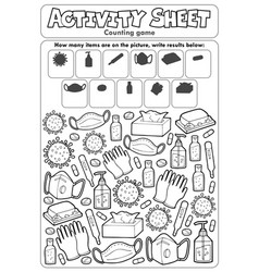 Activity sheet counting game 6 vector