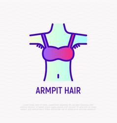 Armpit hair thin line icon body positive modern vector