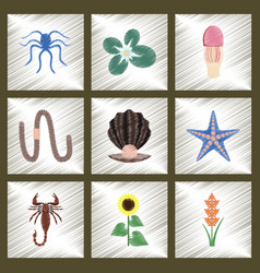 Assembly flat shading style animal octopus vector