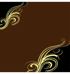 Background with golden ornament and brown vector