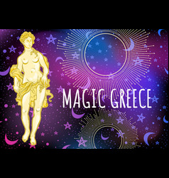 beautiful greek goddess on magical space vector image