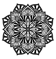 Black and white mandala tribal ethnic ornament vector