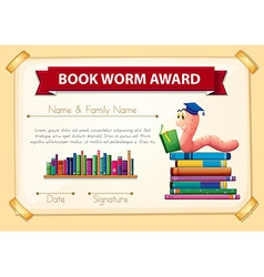 Bookworm award template with books and worm vector