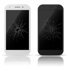 broken mobile phone smart-phone screen with vector image