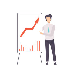 Businessman in a suit pointing at a whiteboard vector