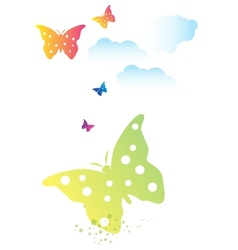 Butterflies swarm and clouds vector
