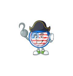 Calm one hand pirate circle badges usa mascot vector