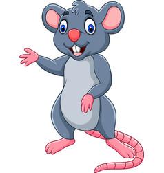cartoon happy mouse waving vector image