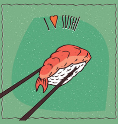 Chopsticks holding sushi roll nigiri vector