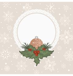 christmas card with branch and ball vector image