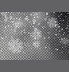 christmas falling snow isolated on dark bac vector image