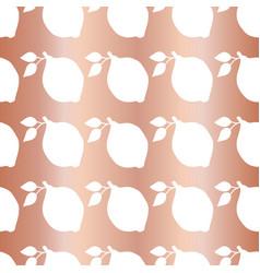 copper foil lemon seamless pattern white vector image
