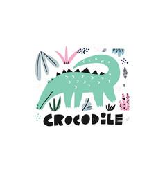 Cute crocodile hand drawn vector