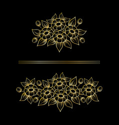 daisy gold outline bouquetes vector image