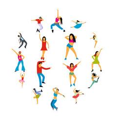 Dances flat icons set vector