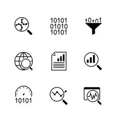 data analysis black icons on white background vector image