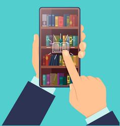 ebook choose bookshelves on screen smartphone vector image