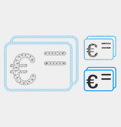 euro account cards mesh wire frame model vector image