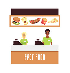 Fast food restaurant or cafe workers stands behind vector