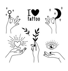 female tattoo hands vector image