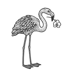 flamingo with orchid in a beak sketch vector image