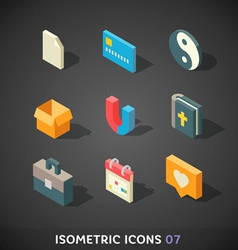 Flat Isometric Icons Set 7 vector image