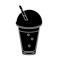 Frappe coffee straw take out container pictogram vector