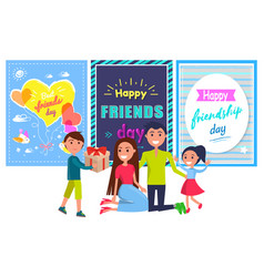 friends day banner with boy giving present parents vector image