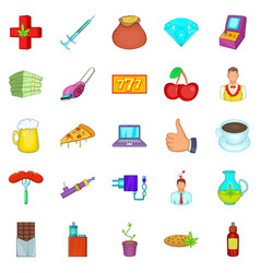 Game addiction icons set cartoon style vector