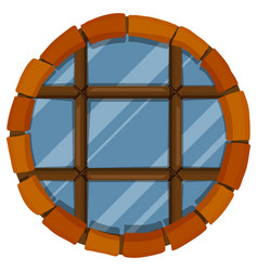 glass window with bricks frame vector image