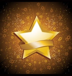 Gold celebration star and banner vector