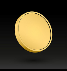 Gold coin 3d object medal vector