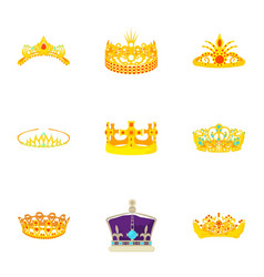 golden crown icons set cartoon style vector image