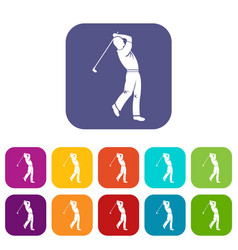 Golf player icons set flat vector