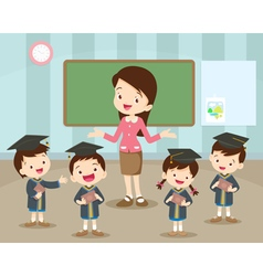 Graduation students and teacher happiness vector
