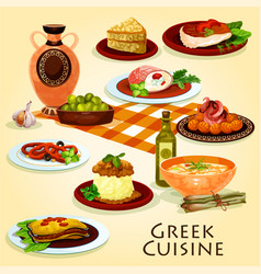 Greek cuisine traditional dinner cartoon icon vector