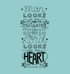 Hand lettering man looks at outward appearance vector