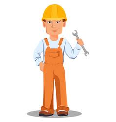 handsome builder in uniform vector image